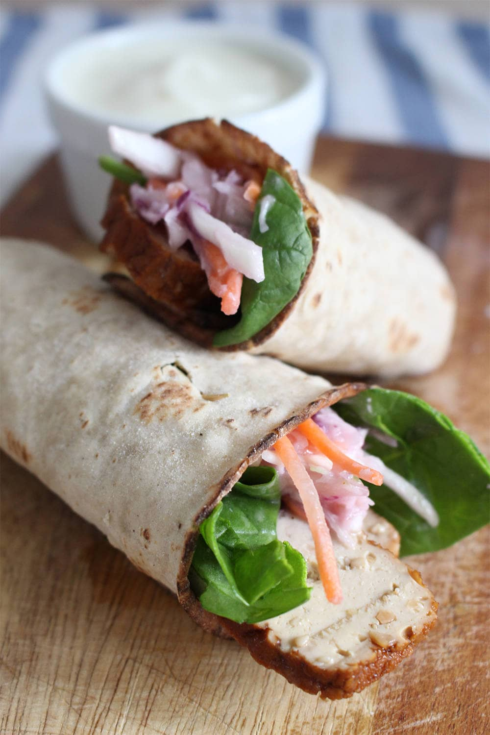 Smoked Tofu and Spicy Vegan Coleslaw Wraps