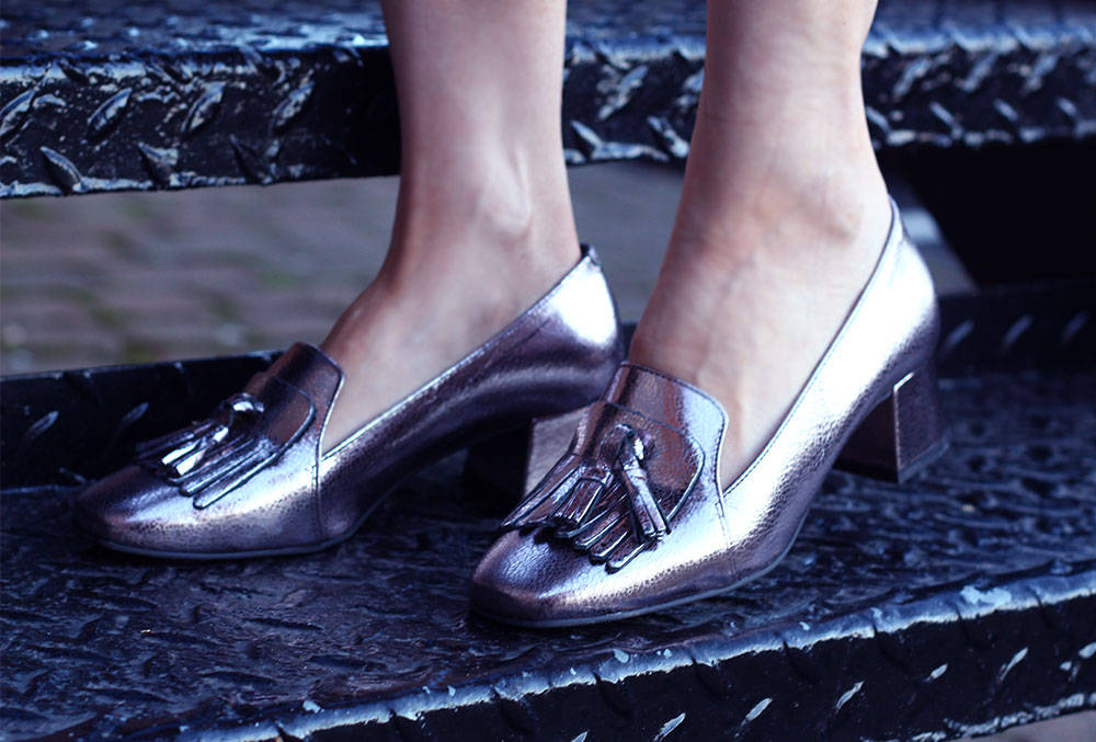 NEXT METALLIC LOAFERS